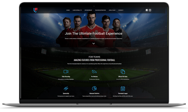 LuxFootball is a website designed by LuxCreators